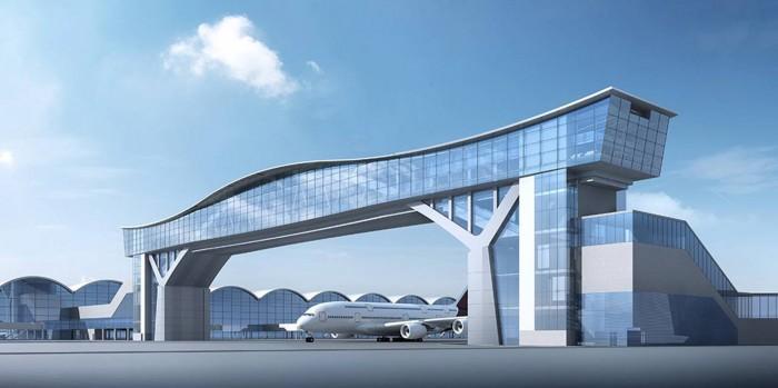 Sky Bridge connecting Terminal 1 with North Satellite Concourse